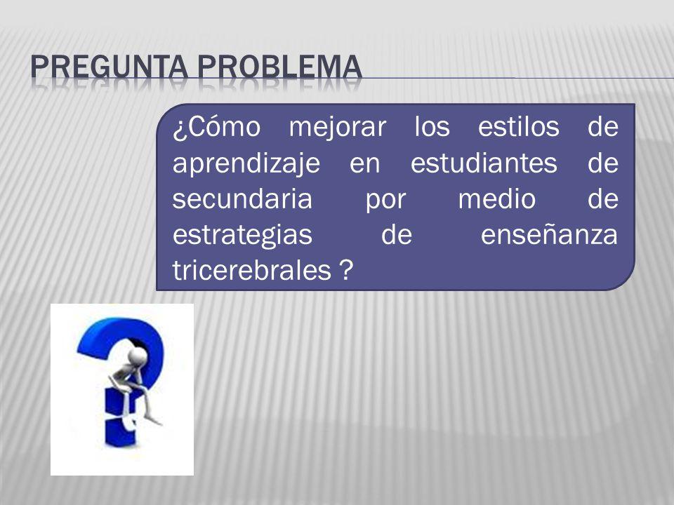 Pregunta problema ¿Cómo mejorar los estilos de aprendizaje en estudiantes de secundaria por medio de estrategias de enseñanza tricerebrales