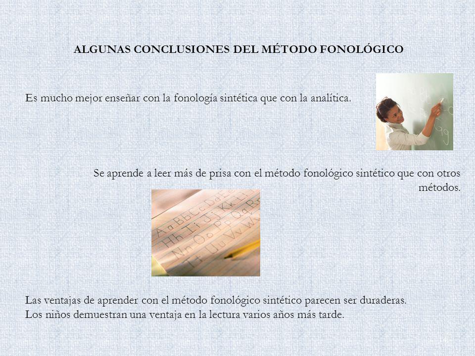 ALGUNAS CONCLUSIONES DEL MÉTODO FONOLÓGICO