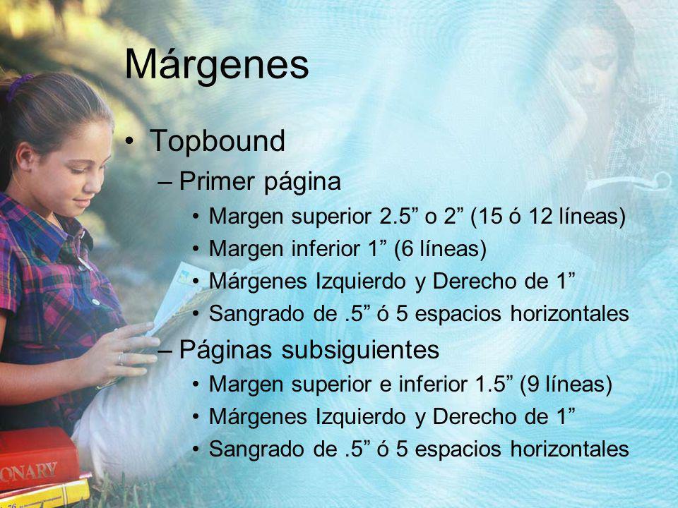 Márgenes Topbound Primer página Páginas subsiguientes