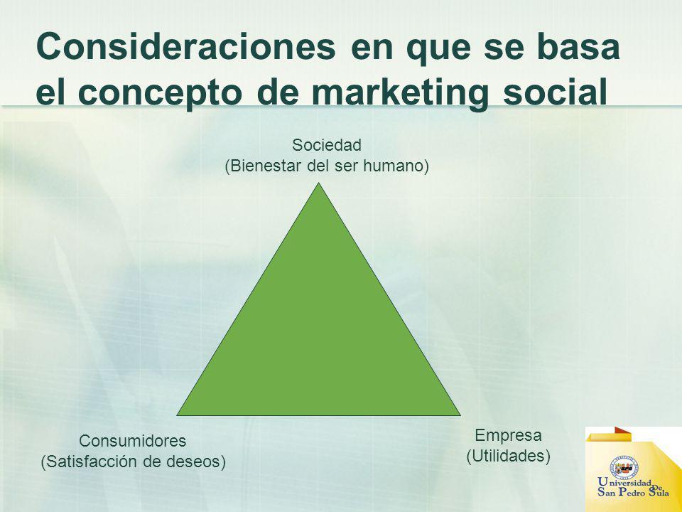 Consideraciones en que se basa el concepto de marketing social