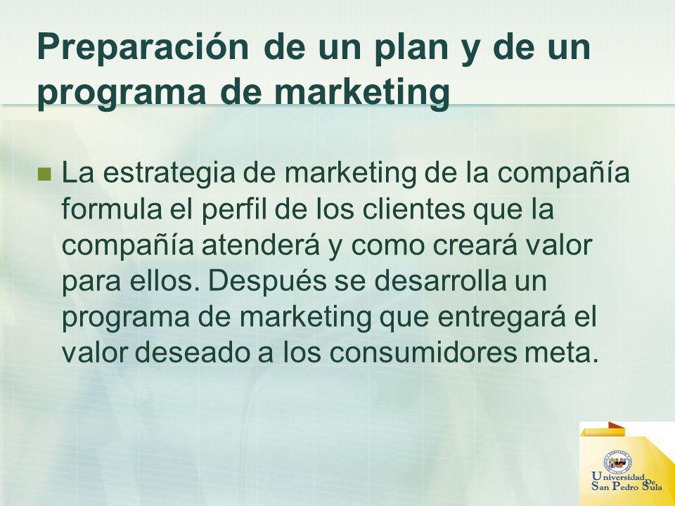 Preparación de un plan y de un programa de marketing