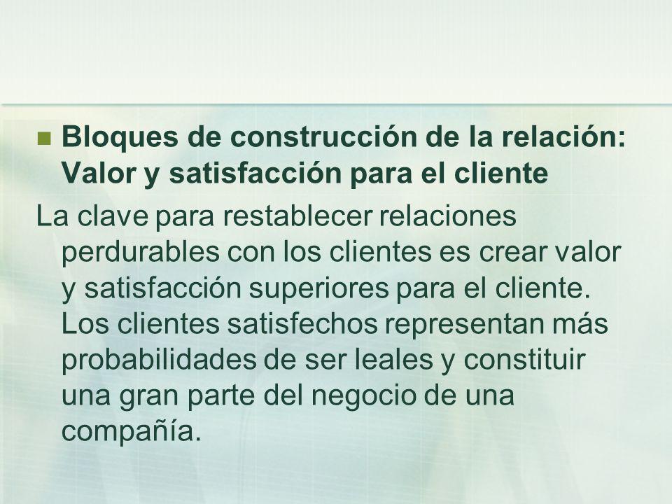 Bloques de construcción de la relación: Valor y satisfacción para el cliente