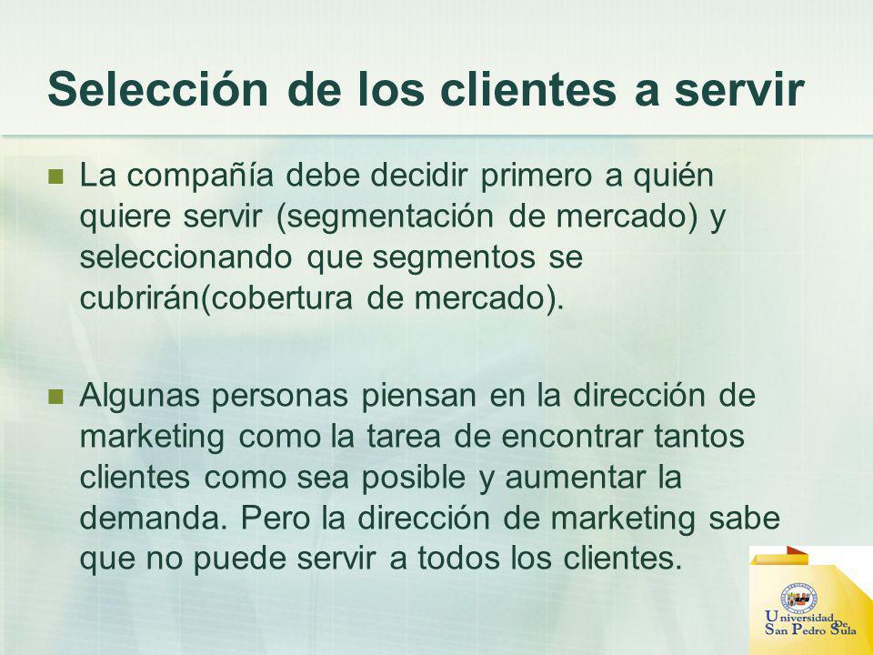 Selección de los clientes a servir