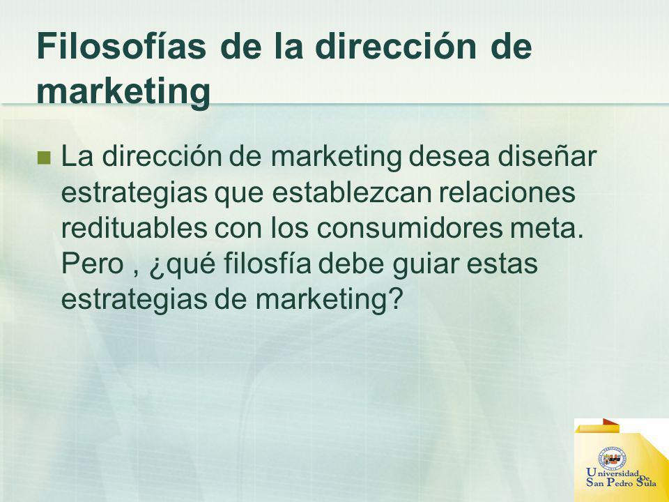 Filosofías de la dirección de marketing