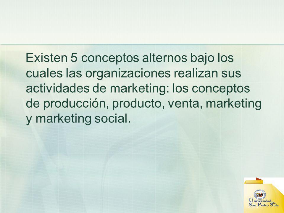 Existen 5 conceptos alternos bajo los cuales las organizaciones realizan sus actividades de marketing: los conceptos de producción, producto, venta, marketing y marketing social.