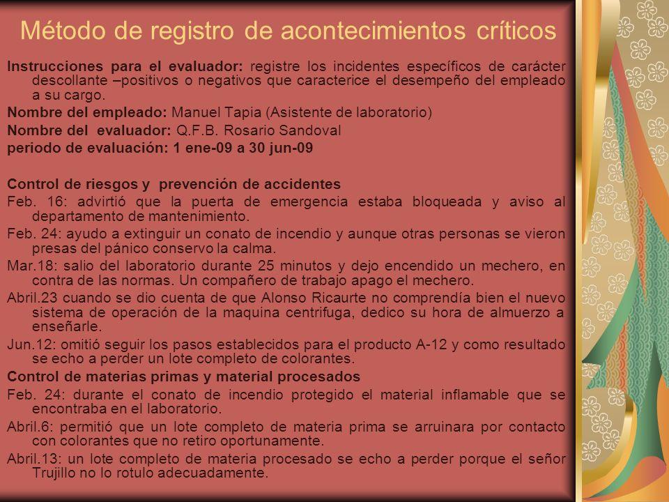 Método de registro de acontecimientos críticos