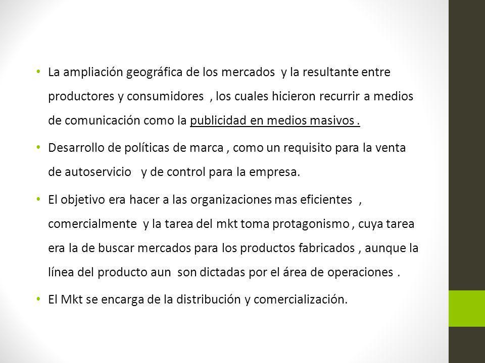 La ampliación geográfica de los mercados y la resultante entre productores y consumidores , los cuales hicieron recurrir a medios de comunicación como la publicidad en medios masivos .