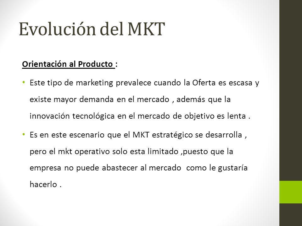 Evolución del MKT Orientación al Producto :