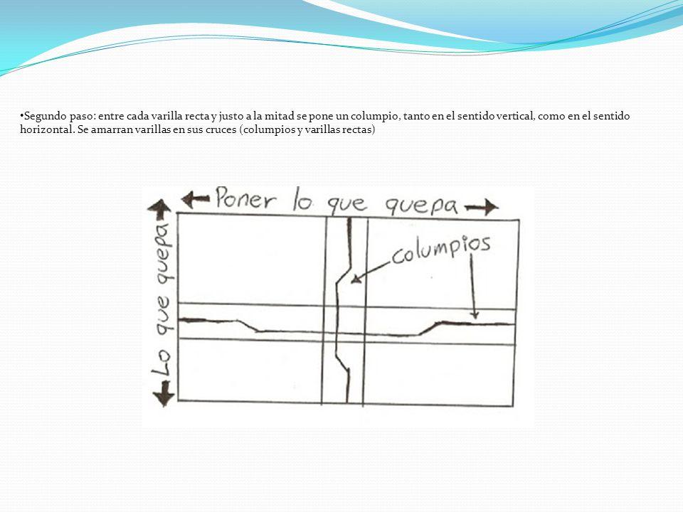 Segundo paso: entre cada varilla recta y justo a la mitad se pone un columpio, tanto en el sentido vertical, como en el sentido horizontal.