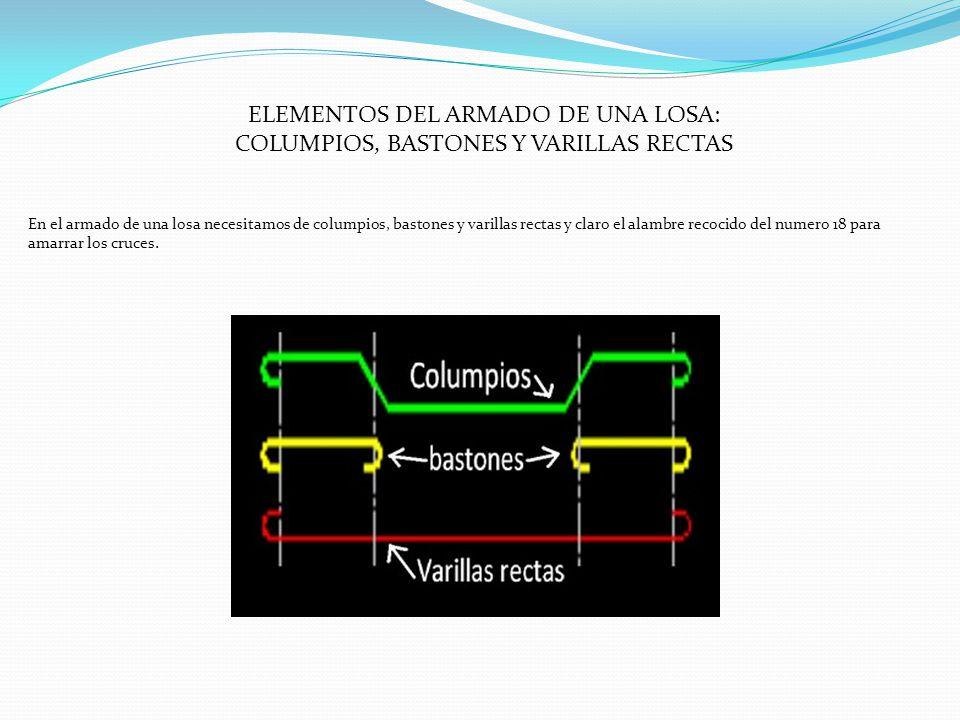 ELEMENTOS DEL ARMADO DE UNA LOSA: COLUMPIOS, BASTONES Y VARILLAS RECTAS