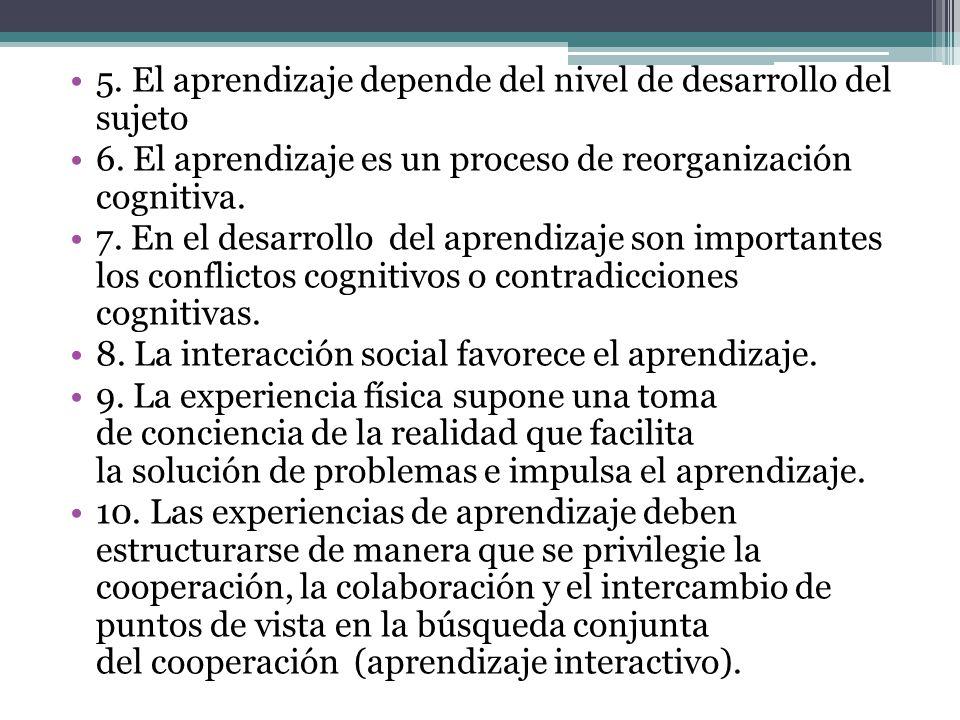 5. El aprendizaje depende del nivel de desarrollo del sujeto