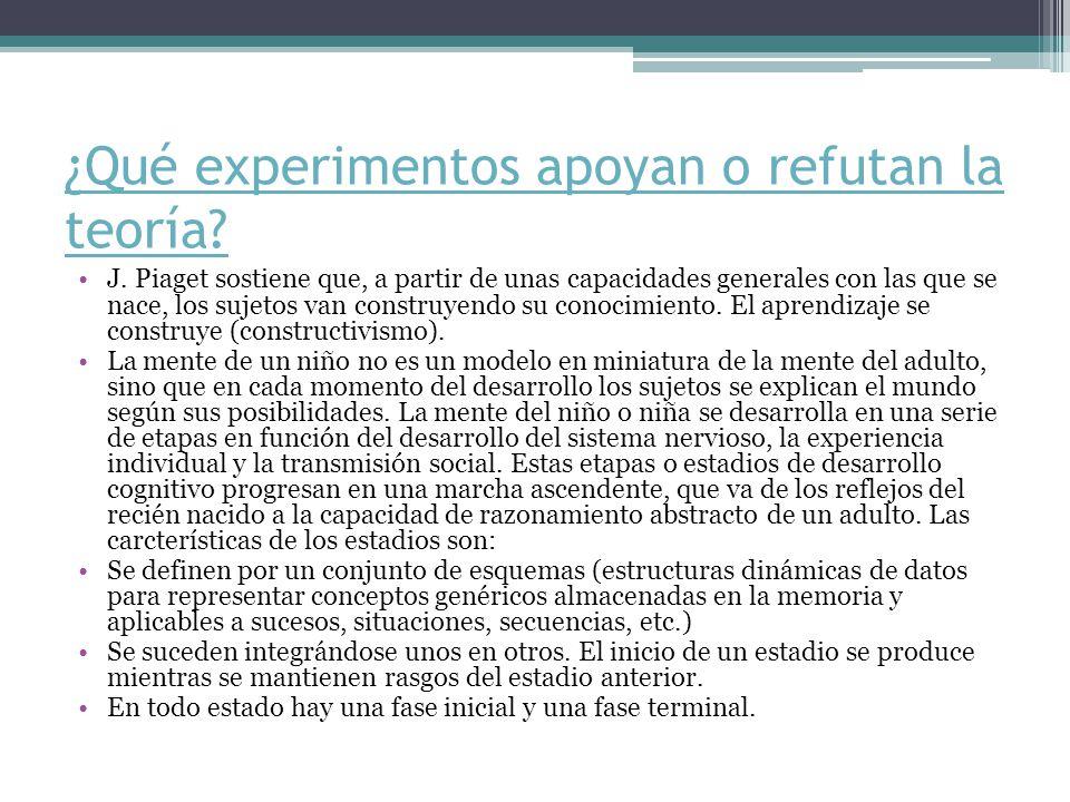 ¿Qué experimentos apoyan o refutan la teoría
