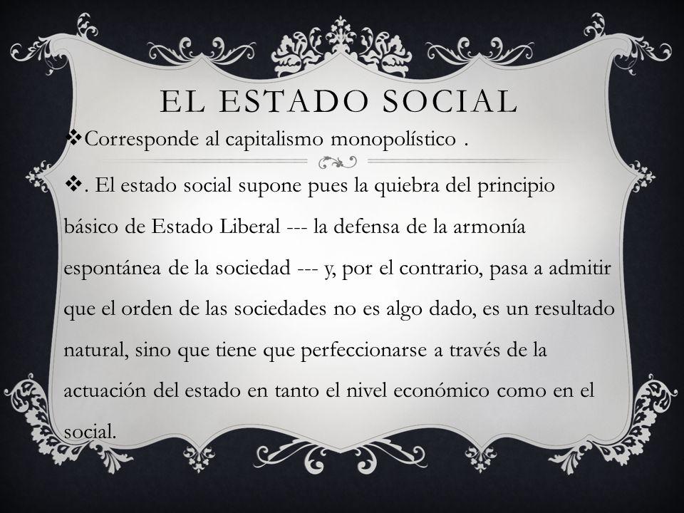 El Estado Social Corresponde al capitalismo monopolístico .