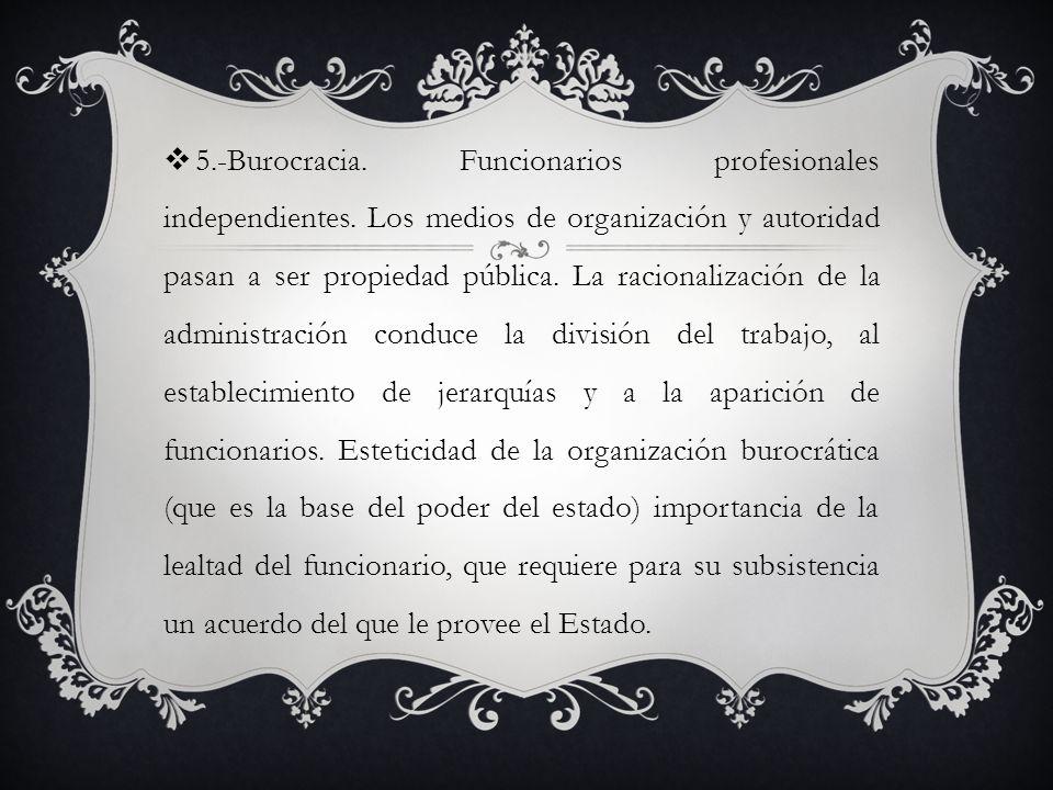 5. -Burocracia. Funcionarios profesionales independientes