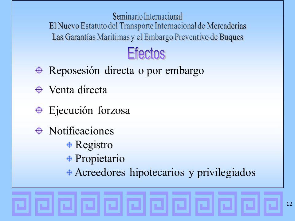 Reposesión directa o por embargo Venta directa Ejecución forzosa