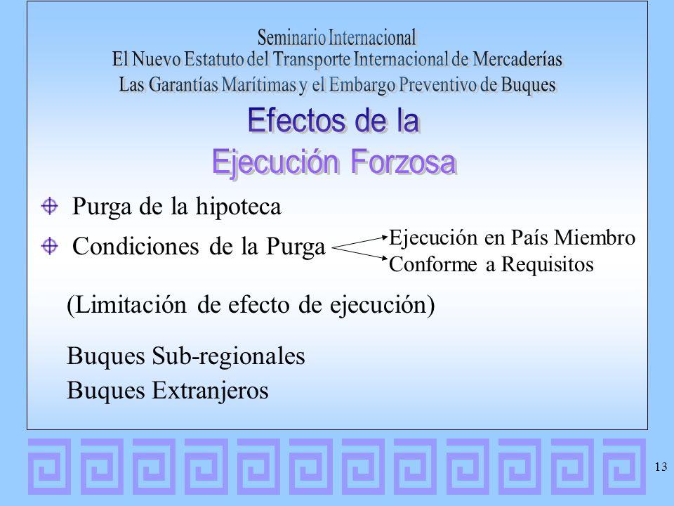 Condiciones de la Purga (Limitación de efecto de ejecución)