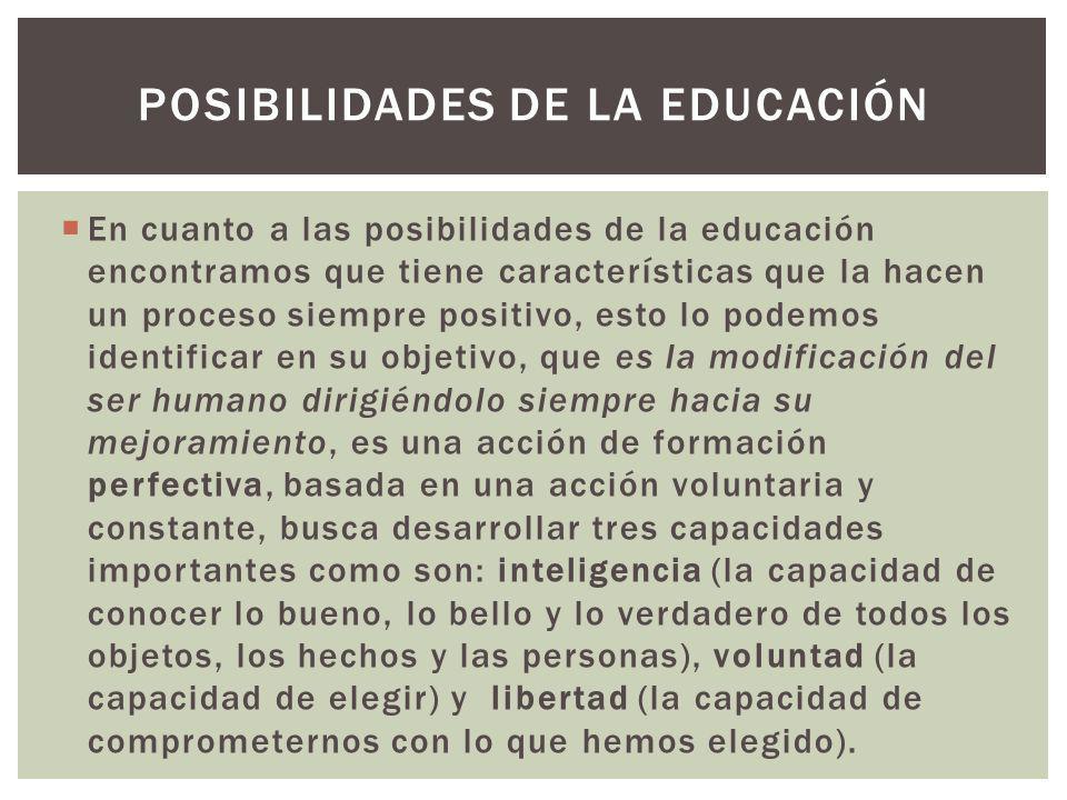 POSIBILIDADES DE LA EDUCACIÓN