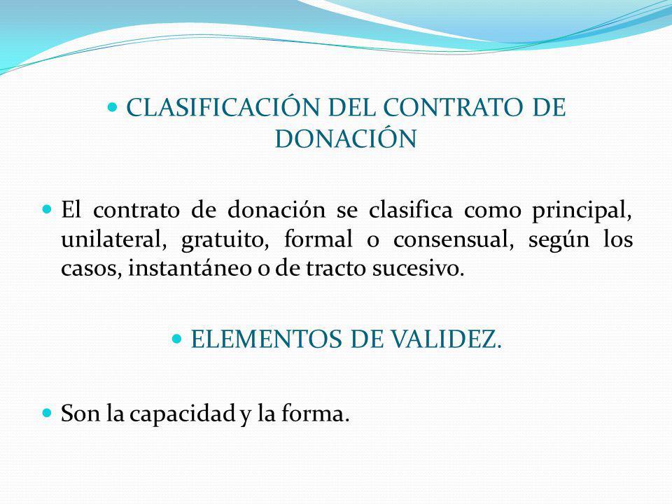 CLASIFICACIÓN DEL CONTRATO DE DONACIÓN