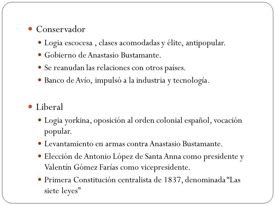 Conservador Logia escocesa , clases acomodadas y élite, antipopular. Gobierno de Anastasio Bustamante.