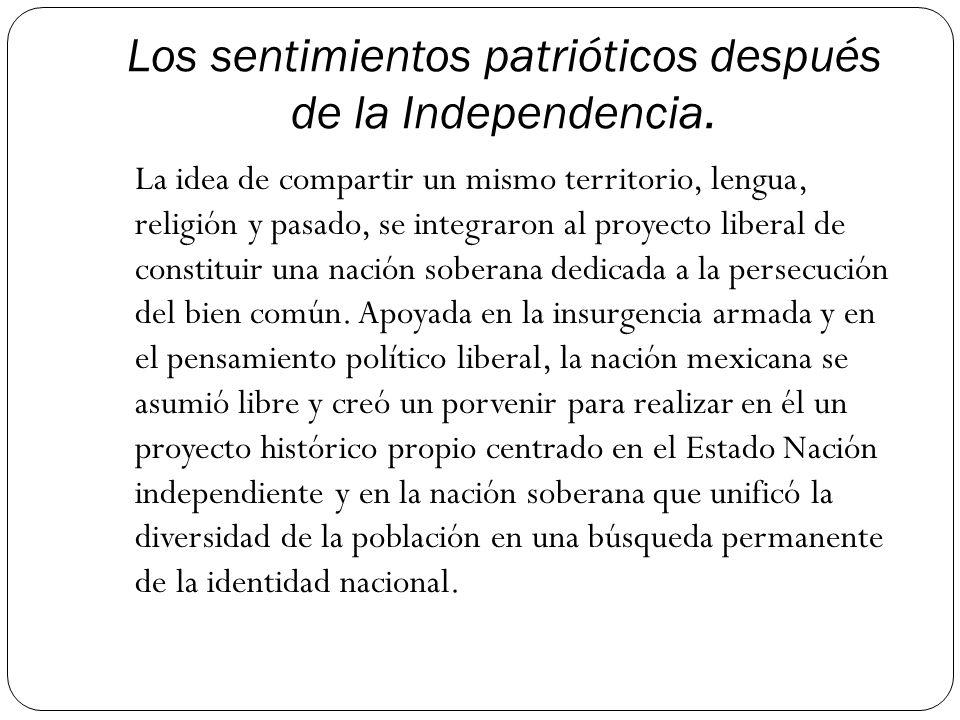Los sentimientos patrióticos después de la Independencia.