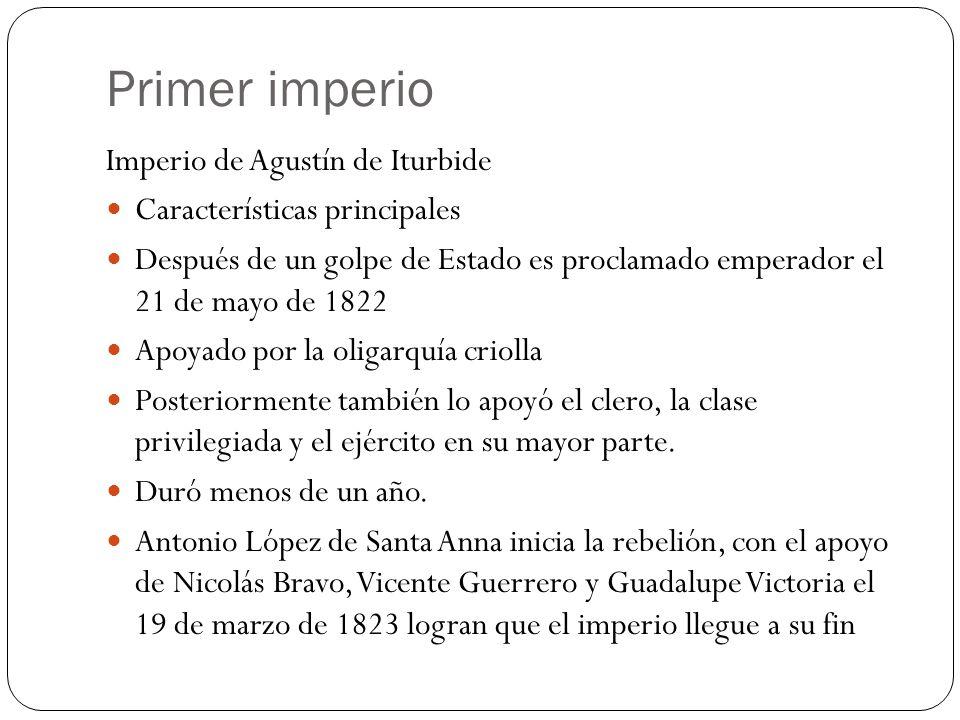 Primer imperio Imperio de Agustín de Iturbide