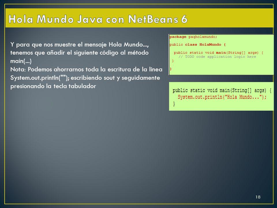 Hola Mundo Java con NetBeans 6