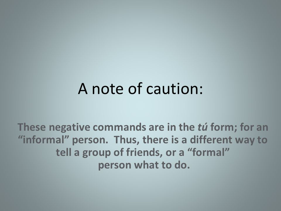 A note of caution: