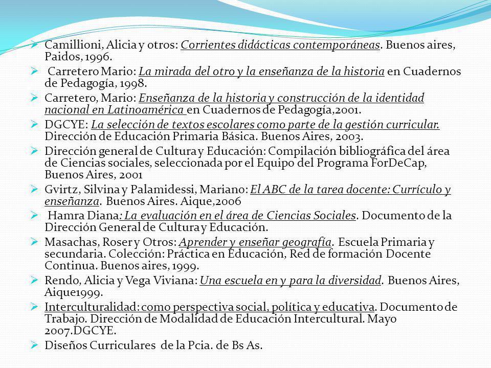 Camillioni, Alicia y otros: Corrientes didácticas contemporáneas. Buenos aires, Paidos, 1996.