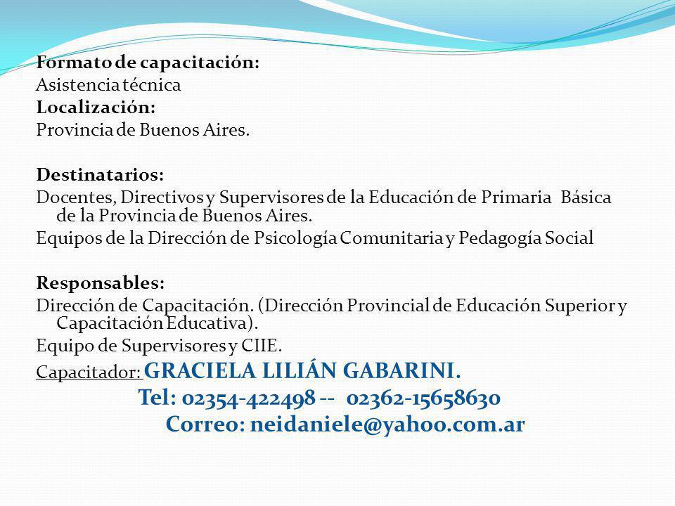 . Tel: 02354-422498 -- 02362-15658630 Correo: neidaniele@yahoo.com.ar