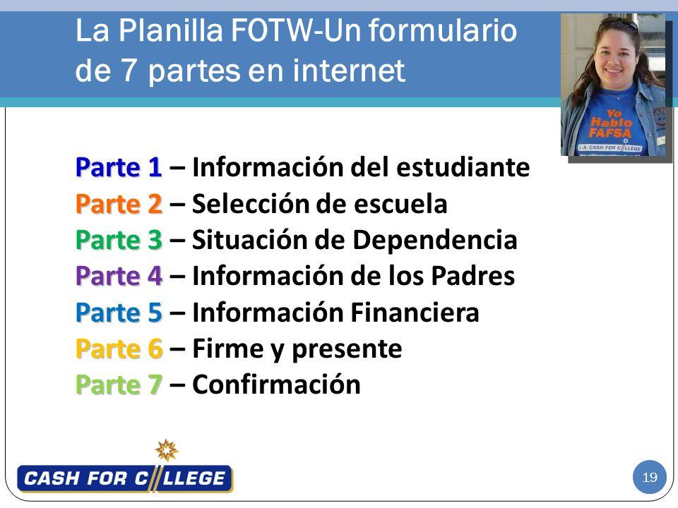 La Planilla FOTW-Un formulario de 7 partes en internet