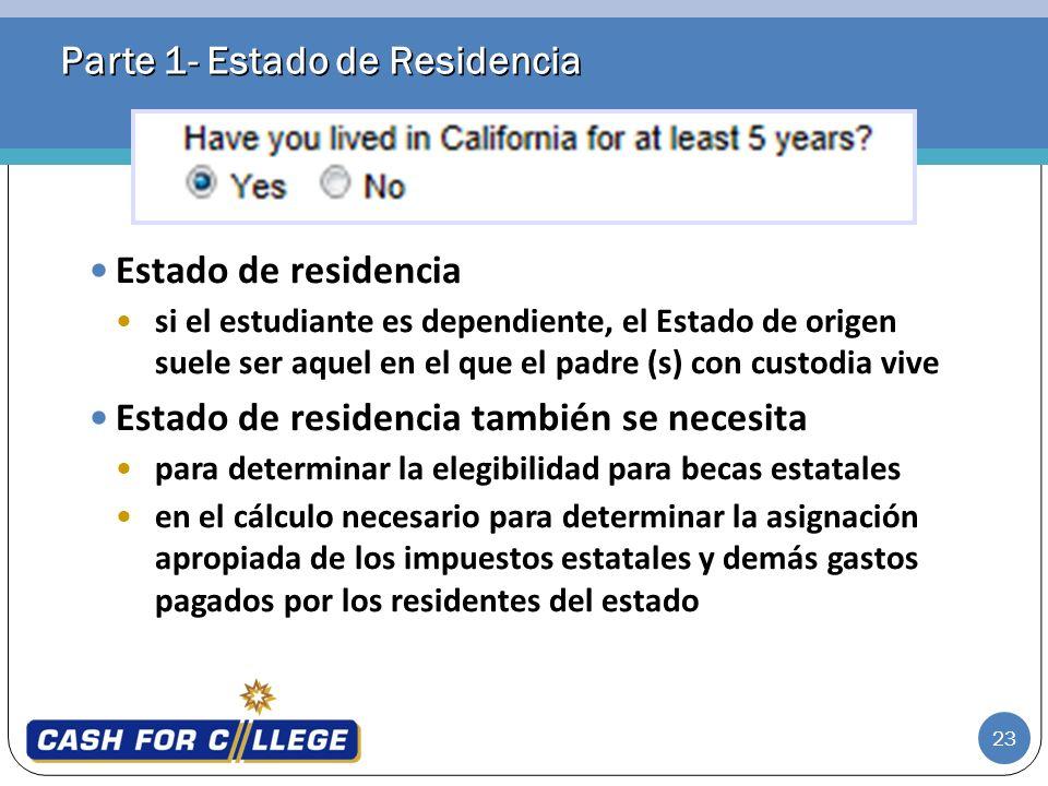 Parte 1- Estado de Residencia