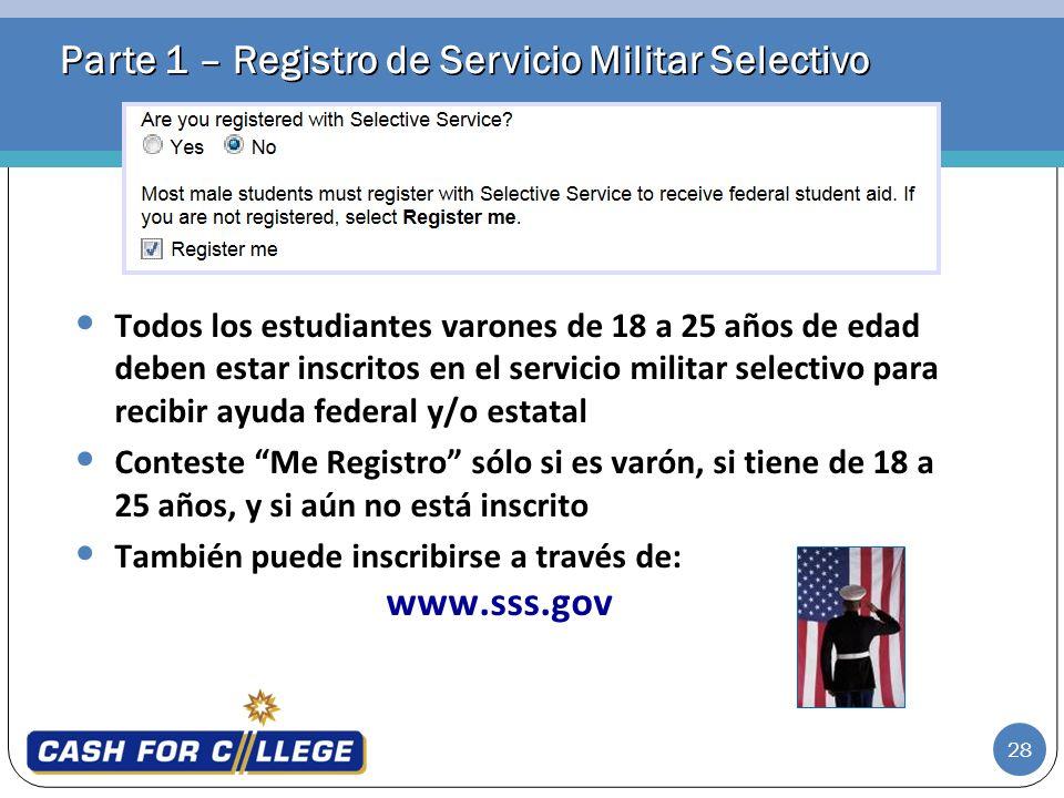 Parte 1 – Registro de Servicio Militar Selectivo