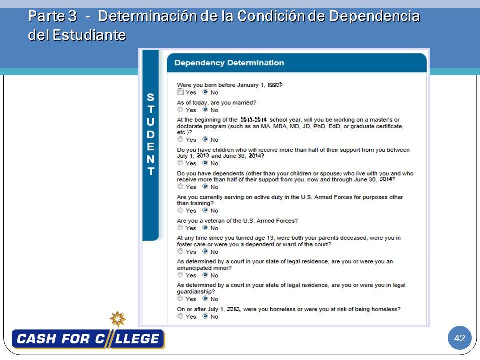 Parte 3 - Determinación de la Condición de Dependencia del Estudiante