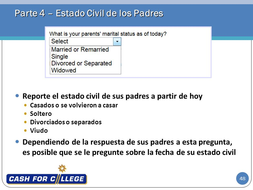 Parte 4 – Estado Civil de los Padres