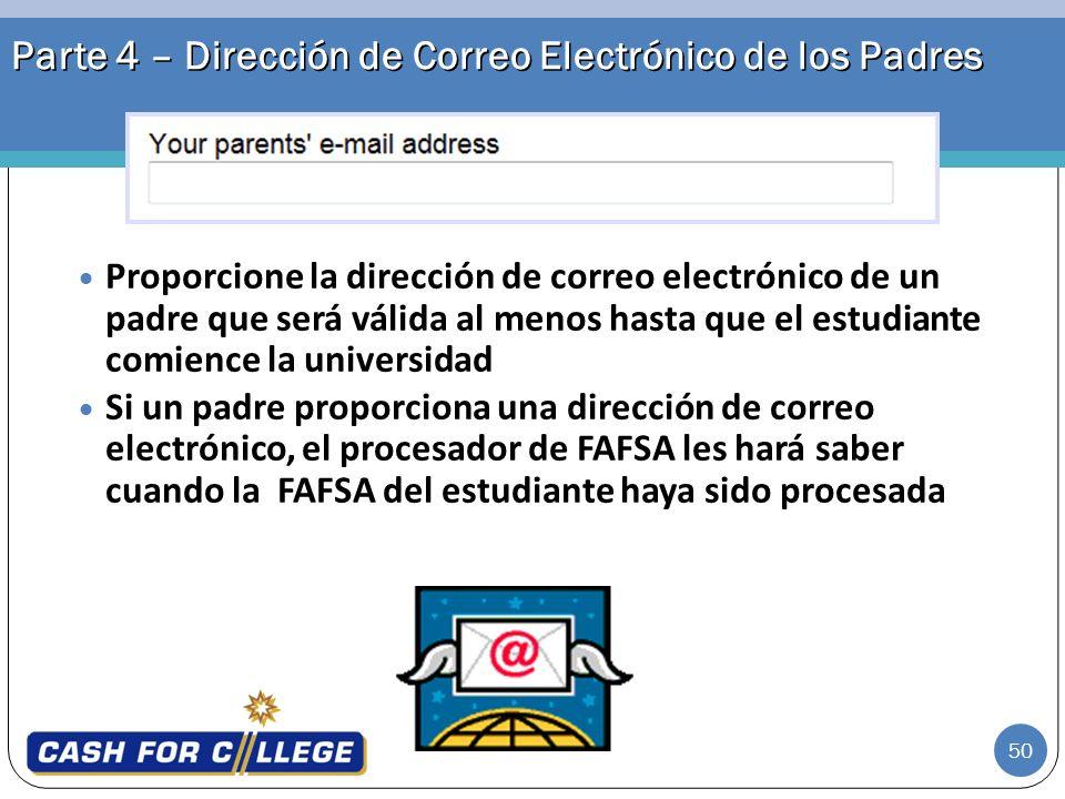 Parte 4 – Dirección de Correo Electrónico de los Padres