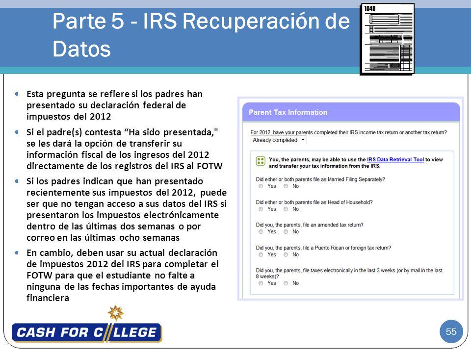 Parte 5 - IRS Recuperación de Datos