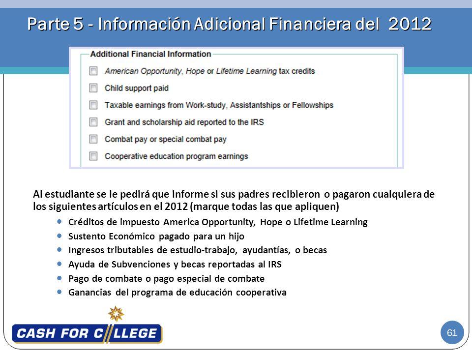 Parte 5 - Información Adicional Financiera del 2012