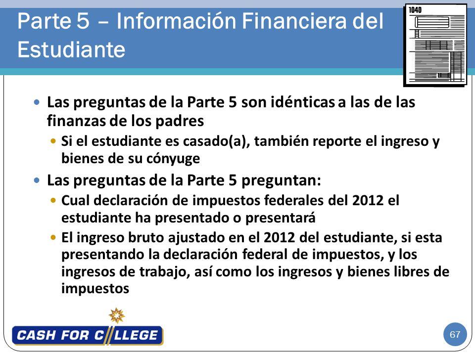 Parte 5 – Información Financiera del Estudiante