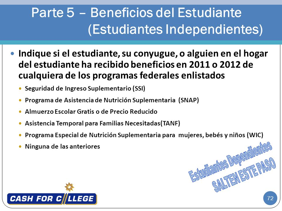 Parte 5 – Beneficios del Estudiante (Estudiantes Independientes)