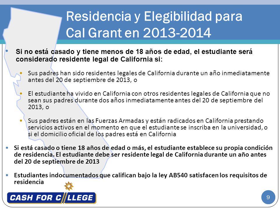 Residencia y Elegibilidad para Cal Grant en 2013-2014