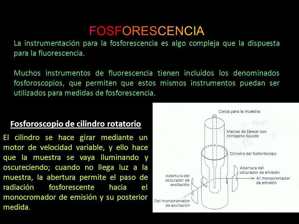 FOSFORESCENCIA La instrumentación para la fosforescencia es algo compleja que la dispuesta para la fluorescencia.