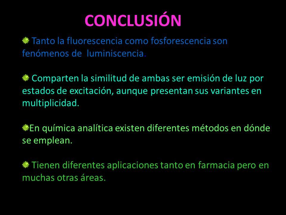CONCLUSIÓN Tanto la fluorescencia como fosforescencia son fenómenos de luminiscencia.