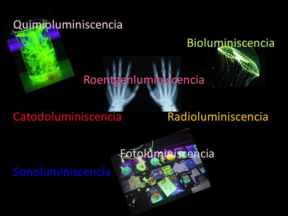 Quimioluminiscencia Bioluminiscencia Roentgenluminiscencia Catodoluminiscencia Radioluminiscencia Fotoluminiscencia Sonoluminiscencia