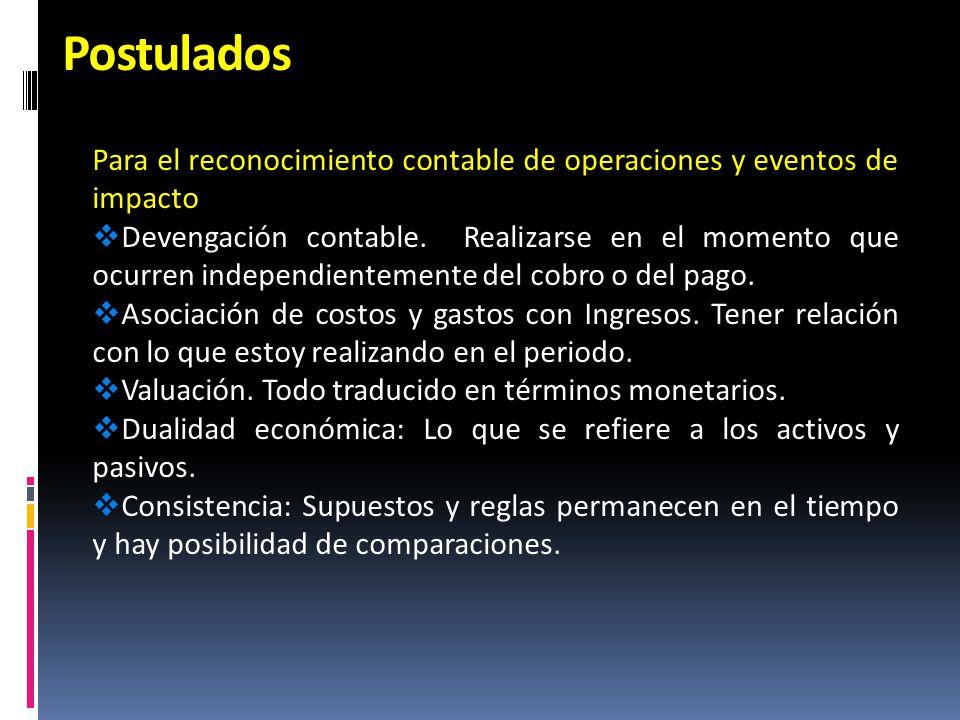Postulados Para el reconocimiento contable de operaciones y eventos de impacto.