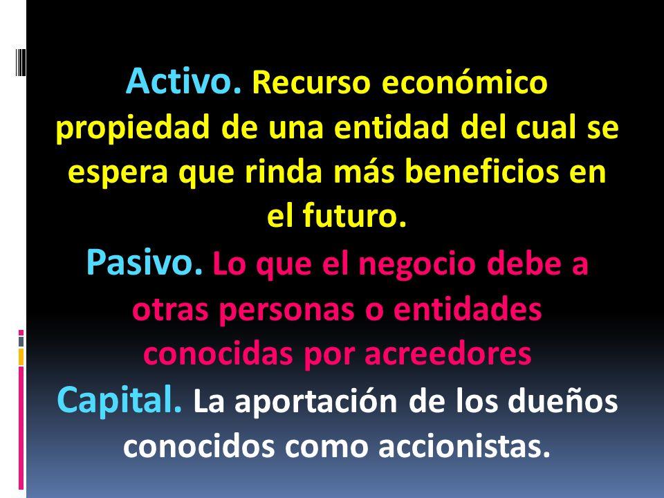 Capital. La aportación de los dueños conocidos como accionistas.