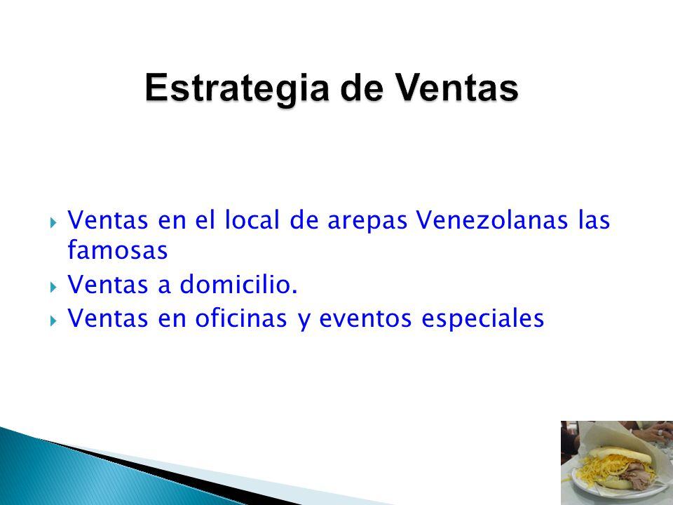 Estrategia de Ventas Ventas en el local de arepas Venezolanas las famosas.