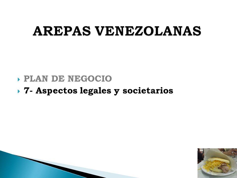 AREPAS VENEZOLANAS PLAN DE NEGOCIO 7- Aspectos legales y societarios