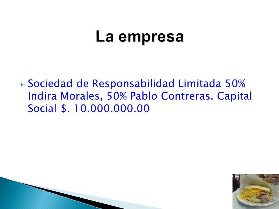 La empresa Sociedad de Responsabilidad Limitada 50% Indira Morales, 50% Pablo Contreras.