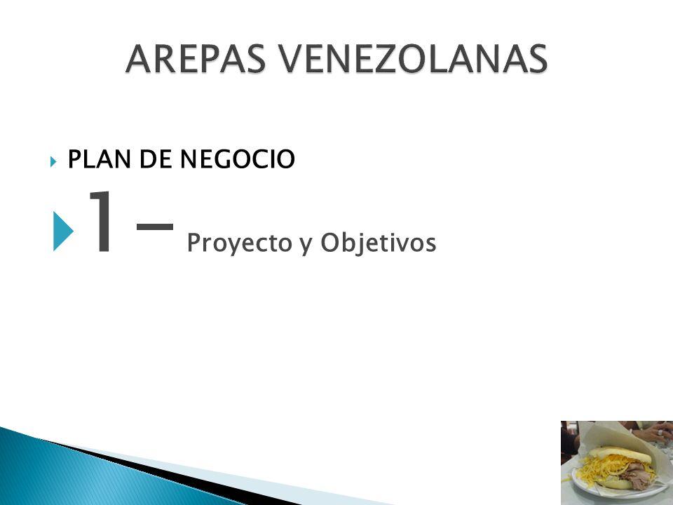 AREPAS VENEZOLANAS PLAN DE NEGOCIO 1- Proyecto y Objetivos