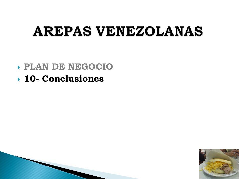 AREPAS VENEZOLANAS PLAN DE NEGOCIO 10- Conclusiones